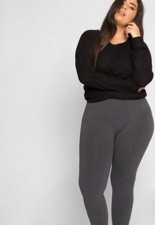 Plus Size High Waist Fleece Leggings in Charcoal alternate img #5