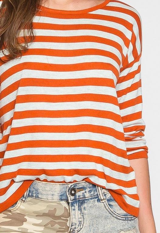 Grand Prize Stripe Sweater Top in Orange alternate img #6