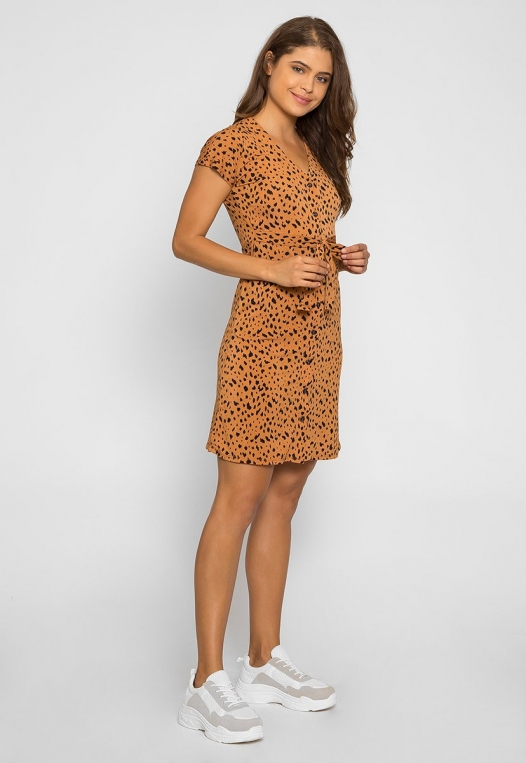 Sunset Cheetah Button Front Dress alternate img #4