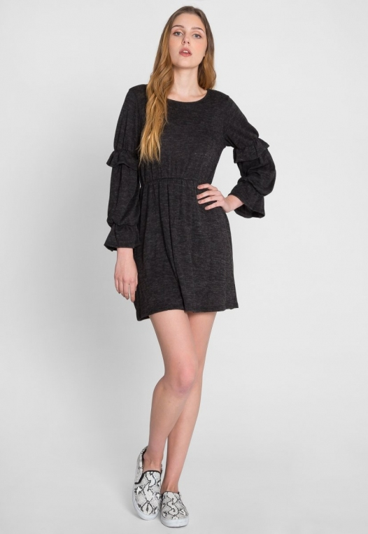 Showstopper Fit and Flare Dress in Charcoal alternate img #5