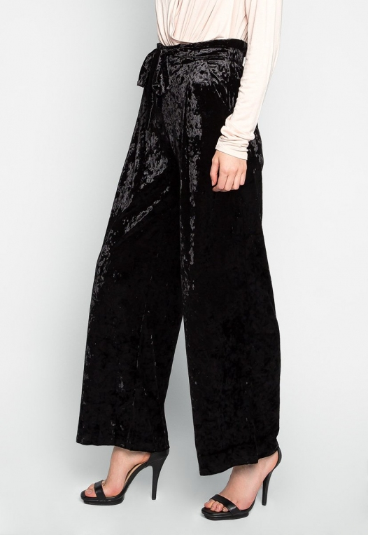 Stay Paper Waist Velvet Pants in Black alternate img #3