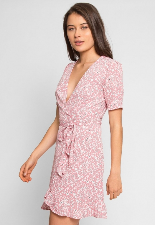 Petals Floral Wrap Dress in Pink alternate img #3