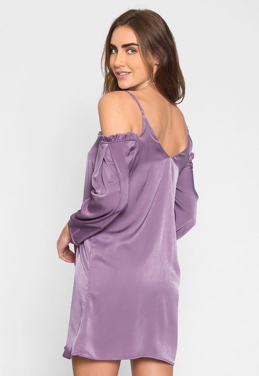 Aroma Cold Shoulder Satin Dress alternate img #2