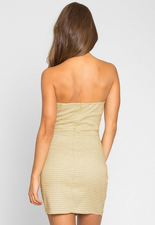 Natural Gingham Ruched Dress in Yellow alternate img #4