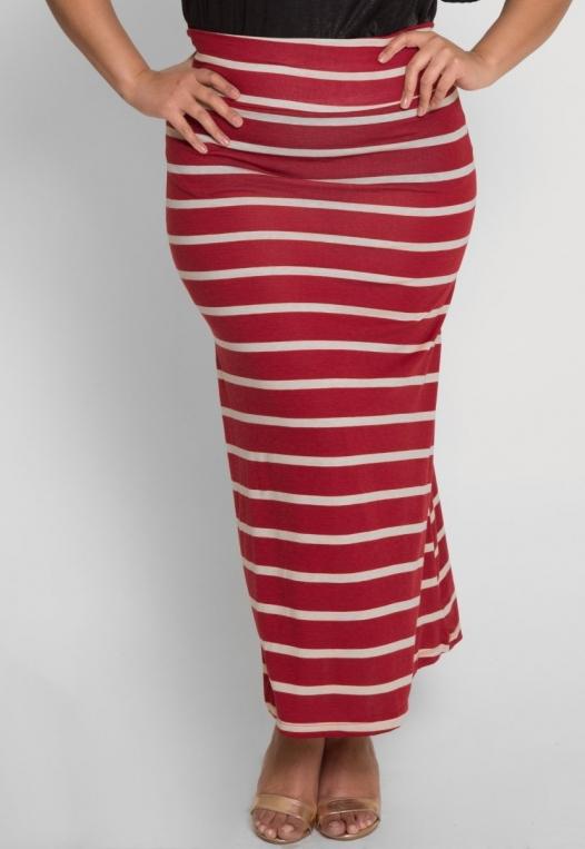 Plus Size Magical Night Stripe Maxi Skirt alternate img #1