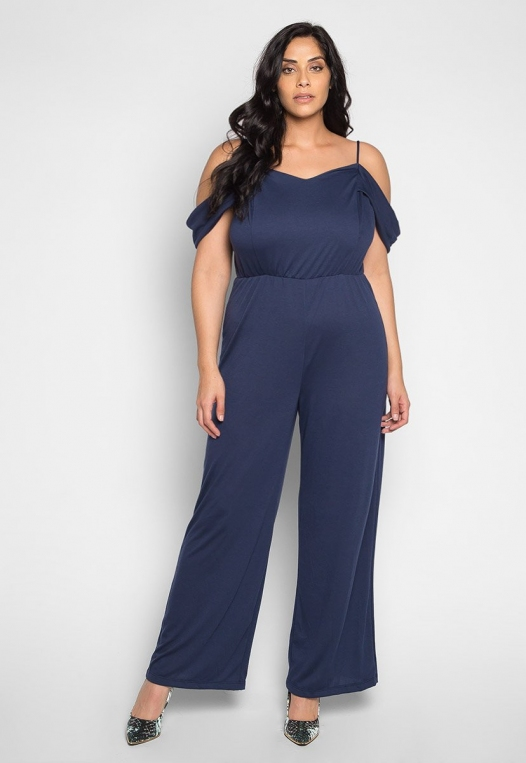 Plus Size Sunday Cold Shoulder Jumpsuit in Navy alternate img #4