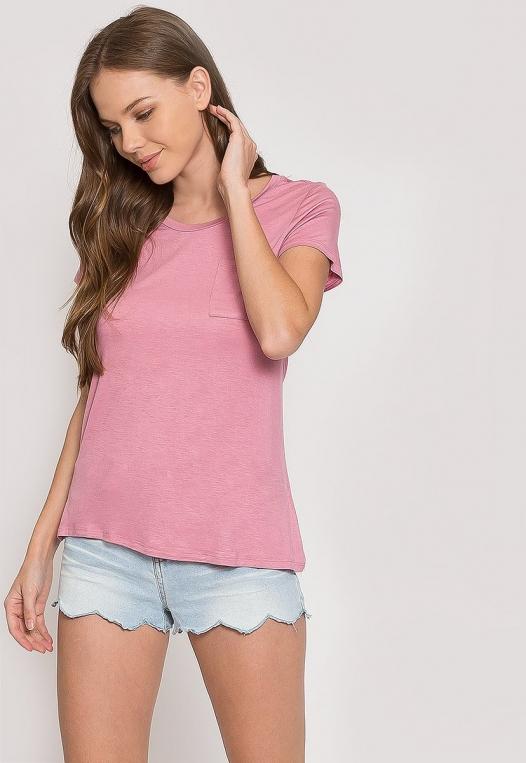 Oregon Oversized V-Neck Pocket Tee in Pink alternate img #5