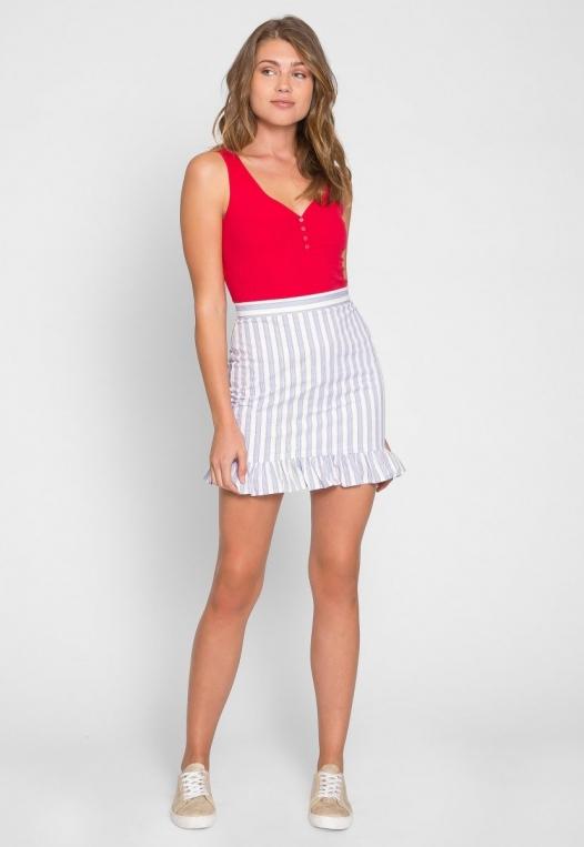 Powder Vertical Stripe Skirt alternate img #6