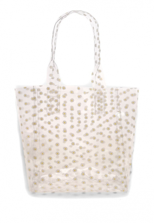 Printed Transparent Tote in White alternate img #1
