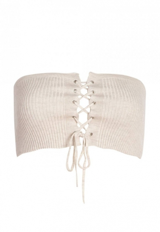 The Hype Rib Knit Bandeau Top in Oatmeal alternate img #6