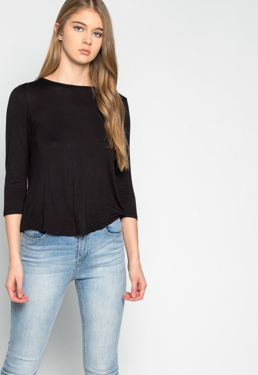Popsicle Open Back Knit Top in Black alternate img #5