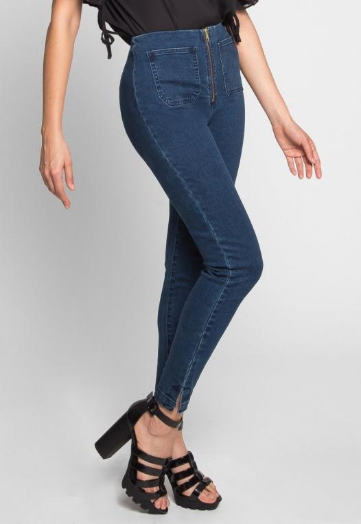 High Waist Zipper Front Skinny Jeans alternate img #2