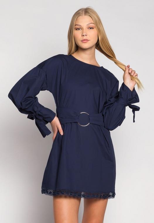 Under the Moonlight Crochet Hem Belted Dress alternate img #1