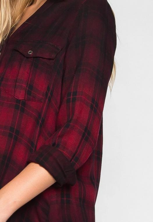 Lucky Girl Ombre Plaid Henley Shirt alternate img #6