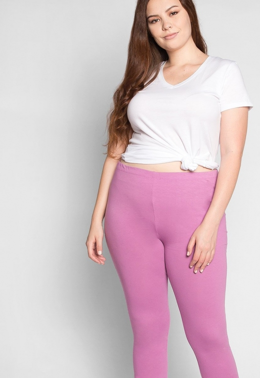 Plus Size Cotton Candy Leggings in Lavender alternate img #5