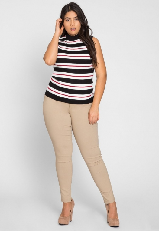 Plus Size Charger Knit Stripe Top in Red alternate img #4