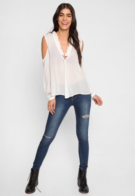 Exquisite Cold Shoulder Ruffle Top alternate img #4