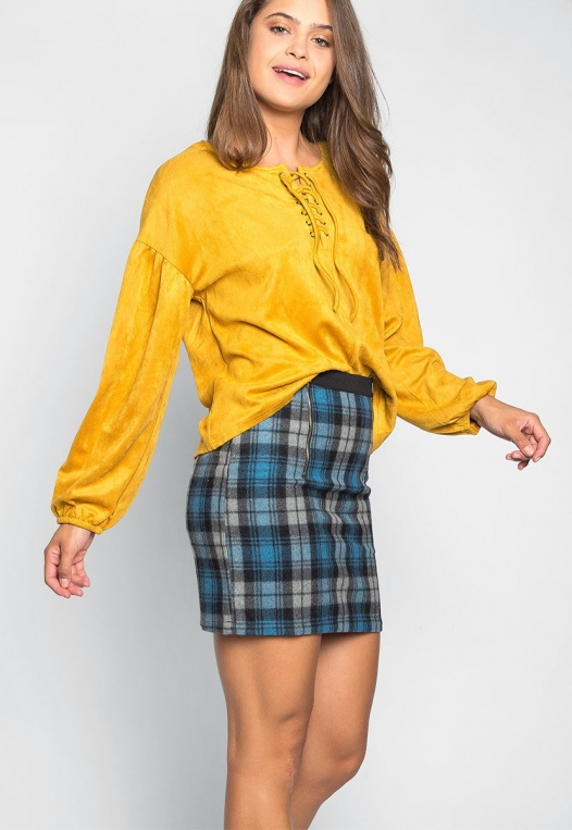Budapest Lace Up Top in Mustard alternate img #5