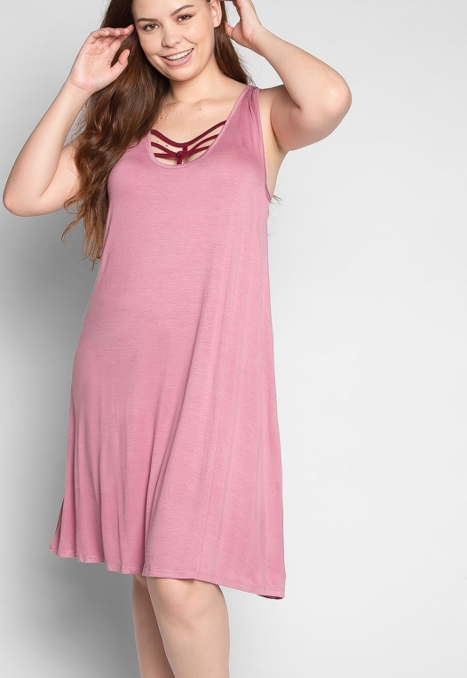 Plus Size Love Stories Tank Dress in Pink alternate img #5