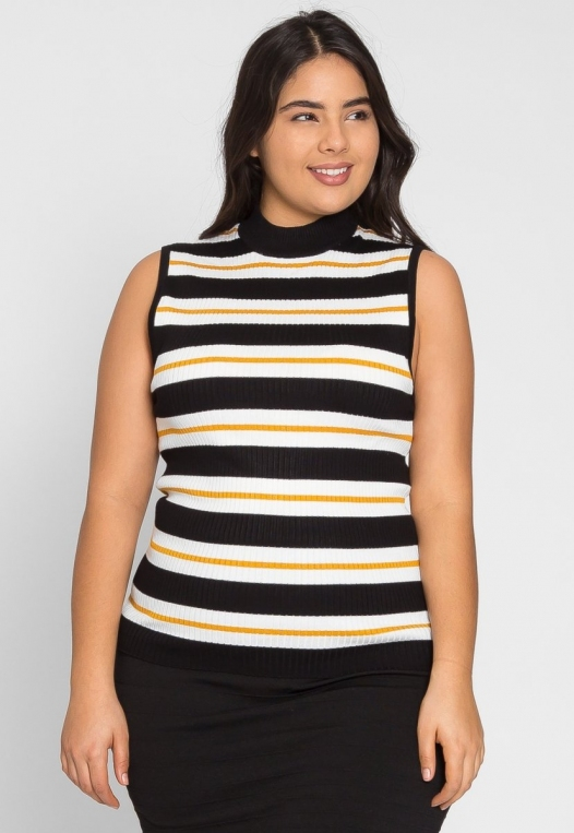 Plus Size Charger Knit Stripe Top in Yellow alternate img #1