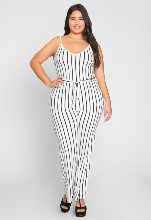 Plus Size Dazzling Stripe Jumpsuit in White alternate img #1