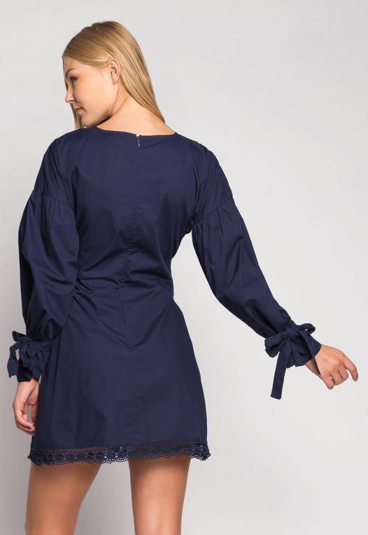 Under the Moonlight Crochet Hem Belted Dress alternate img #2