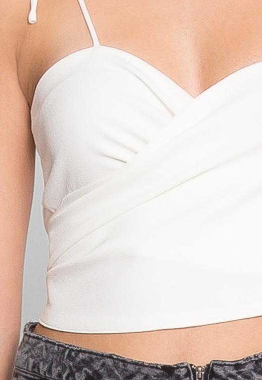Reveal Tie Front Crop Top in White alternate img #6