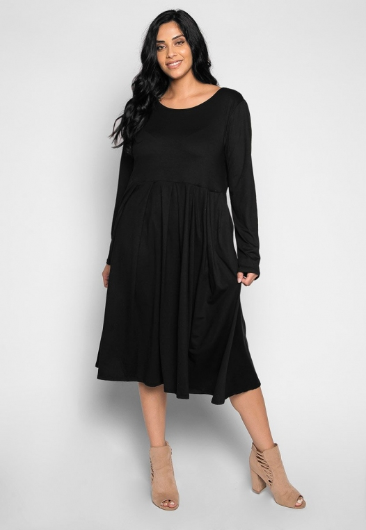 Plus Size Cherry Bomb Fit & Flare Dress in Black alternate img #4
