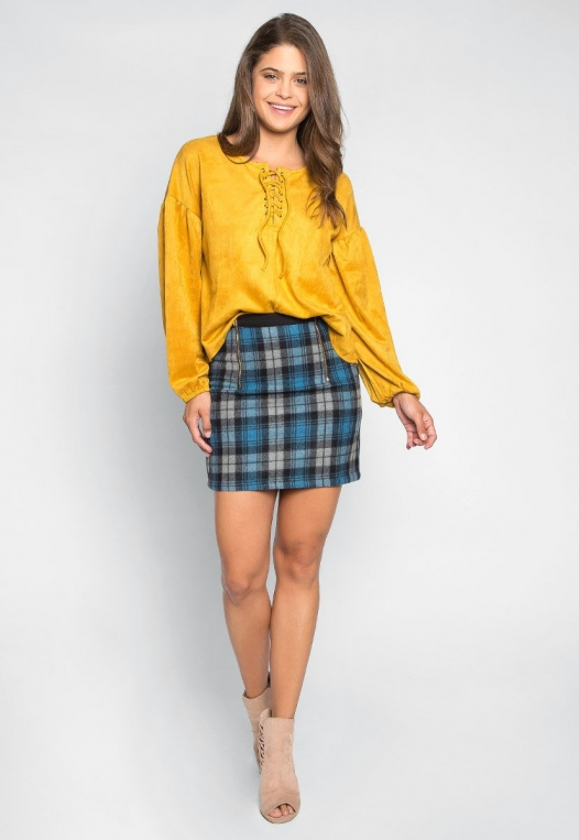Budapest Lace Up Top in Mustard alternate img #4