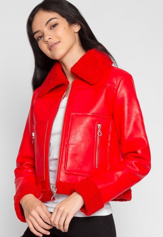 All Stars Luxe Bomber Jacket in Red alternate img #3