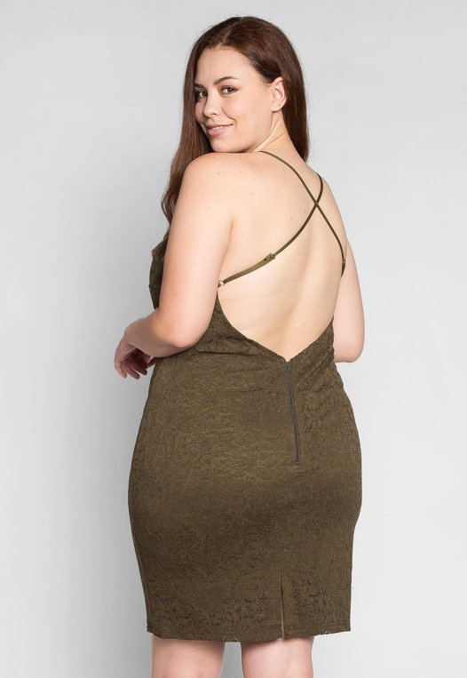 Plus Size Be The One Bodycon Dress in Olive alternate img #2