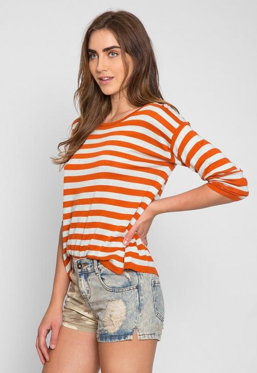 Grand Prize Stripe Sweater Top in Orange alternate img #1
