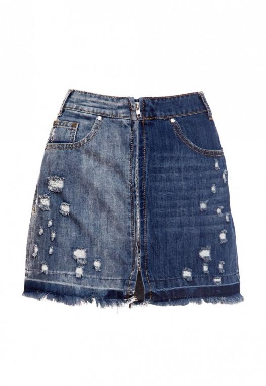 Whip It Distressed Denim Skirt alternate img #8