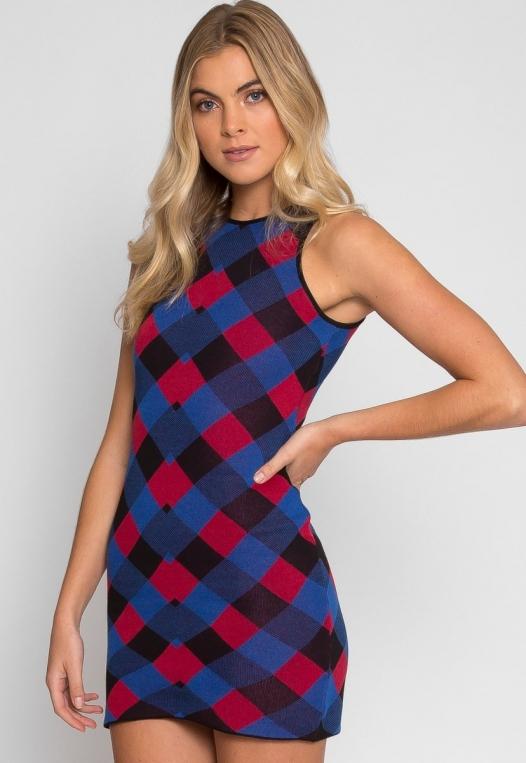 Study Hall Geometric Print Dress in Blue alternate img #2