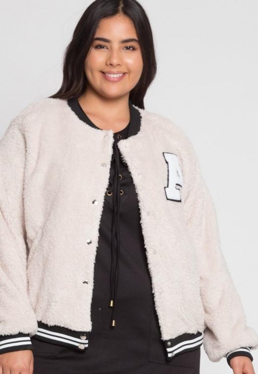 Plus Size Letterman Teddy Varsity Jacket in Beige alternate img #5