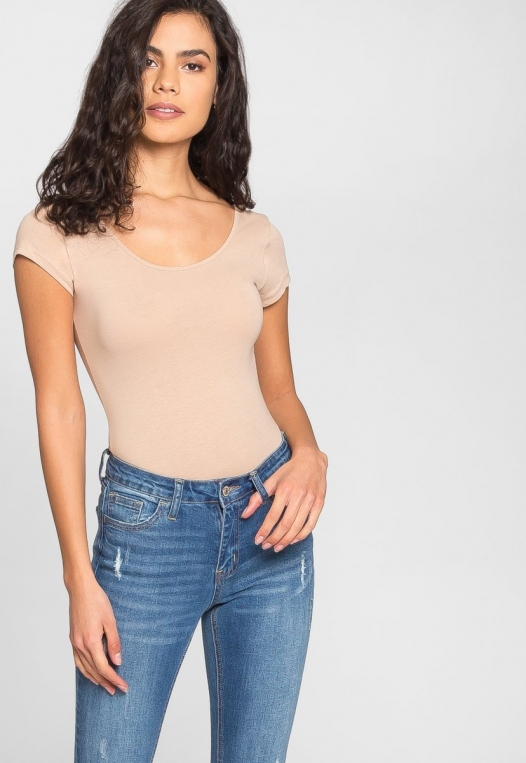 Juliet Short Sleeve Bodysuit in Khaki alternate img #5