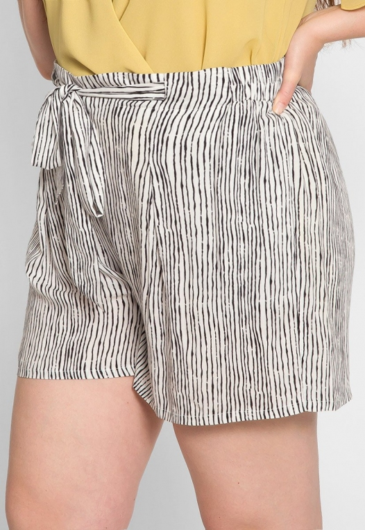Plus Size High Waist Stripe Shorts alternate img #4