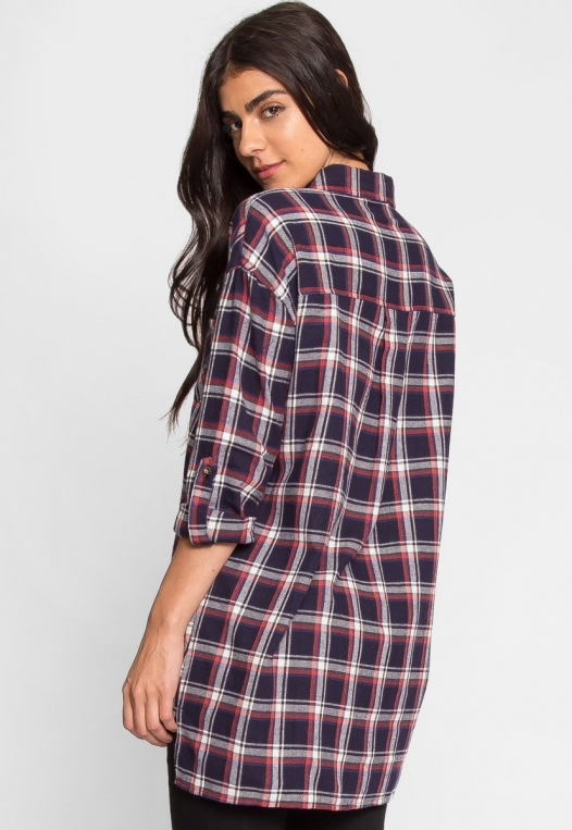 Oversize Plaid Flannel Shirt in Navy alternate img #5