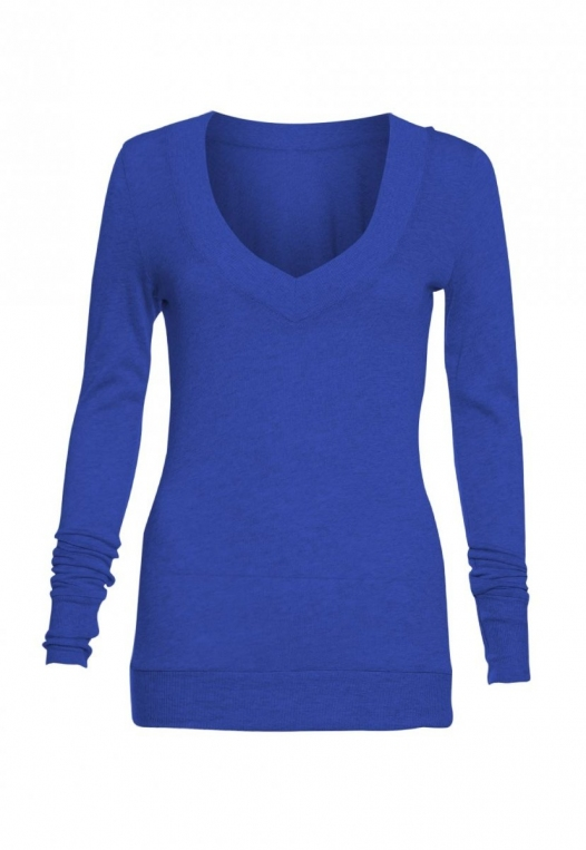 Perfect V Neck Sweater in Blue alternate img #7
