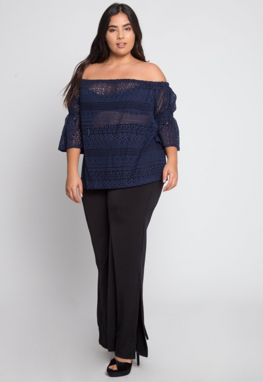 Plus Size Susie Off Shoulder Lace Top in Navy alternate img #4