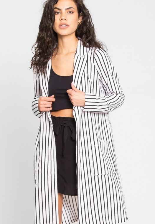 Over You Stripe Longline Blazer in White alternate img #1