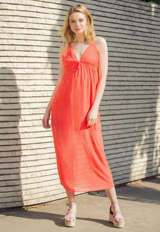 Sundae Polka Dot Chiffon Maxi Dress alternate img #1