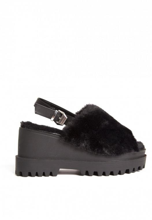 Faux Fur Platform Sandals alternate img #1