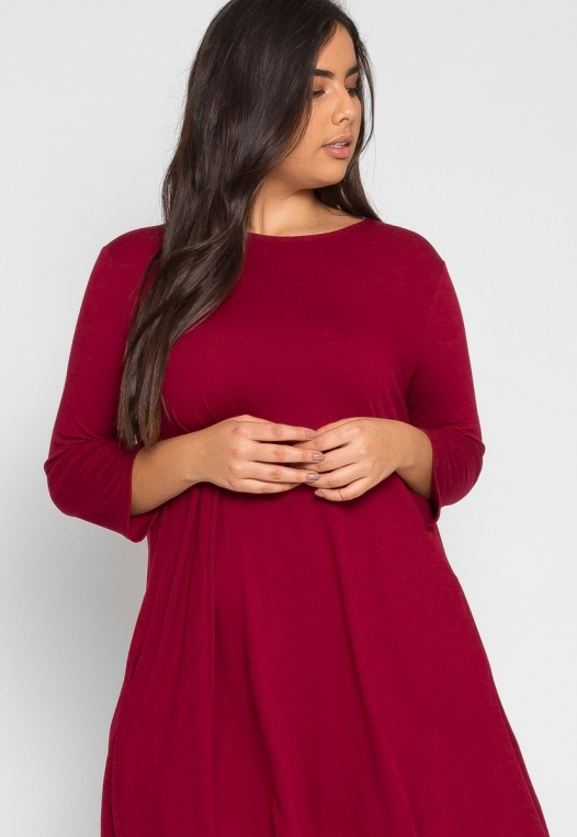 Plus Size Catwalk Tunic Knit Dress in Burgundy alternate img #1