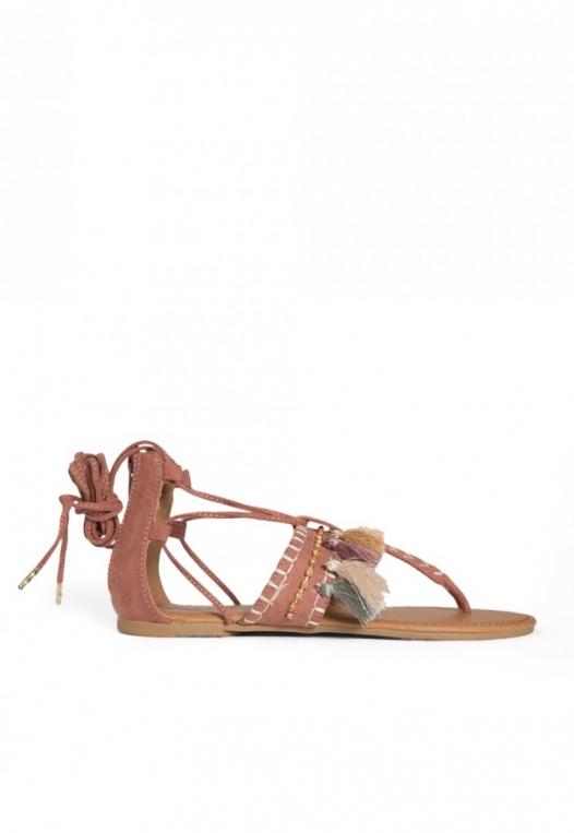 Eternity Tassel Gladiator Sandals in Light Pink alternate img #1