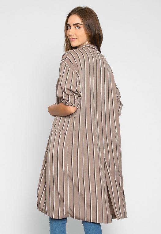 Rumors Longline Stripe Kimono in Gray alternate img #2