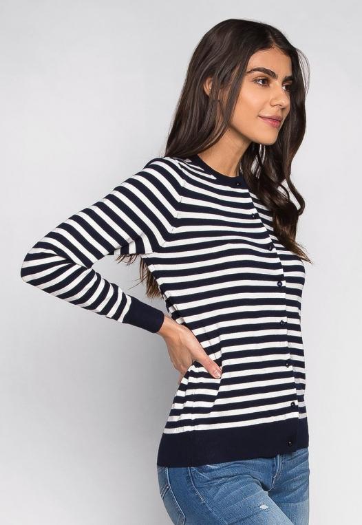 Black & White Thin Stripe Button Up Cardigan alternate img #3