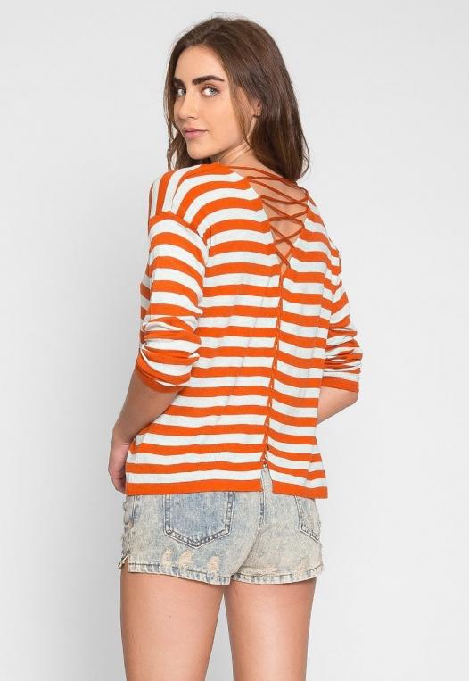 Grand Prize Stripe Sweater Top in Orange alternate img #2