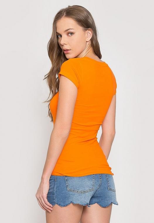Venus Fitted Crew Neck Tee in Orange alternate img #2