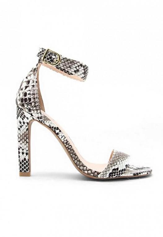 Soleil Snakeskin Ankle Strap Heels alternate img #1